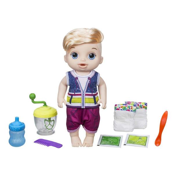 Baby Alive Пупс кукла мальчик с блендером Sweet Spoonfuls Blonde Baby Doll Boy