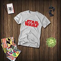 Мужская серая футболка, чоловіча футболка Star Wars (красный лого), Реплика
