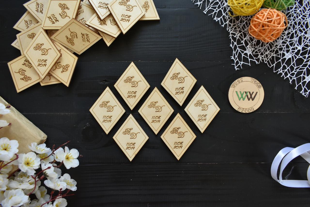 Свадебные фишки, подарки на свадьбу гостям, пригласительные, фишки из дерева с датой и инициалами, конкурсы