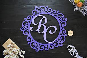 Свадебный герб, монограмма для свадьбы, первые буквы имен, фамильный герб из дерева, инициалы в два цвета.
