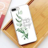 "Защитный чехол-накладка из силикона ""Enjoy the little things"" для Samsung Galaxy S8 (белый)"
