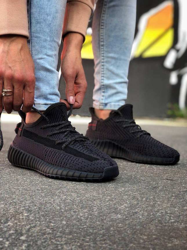 Кроссовки Yeezy 350 v2 Black Черные, фото 2