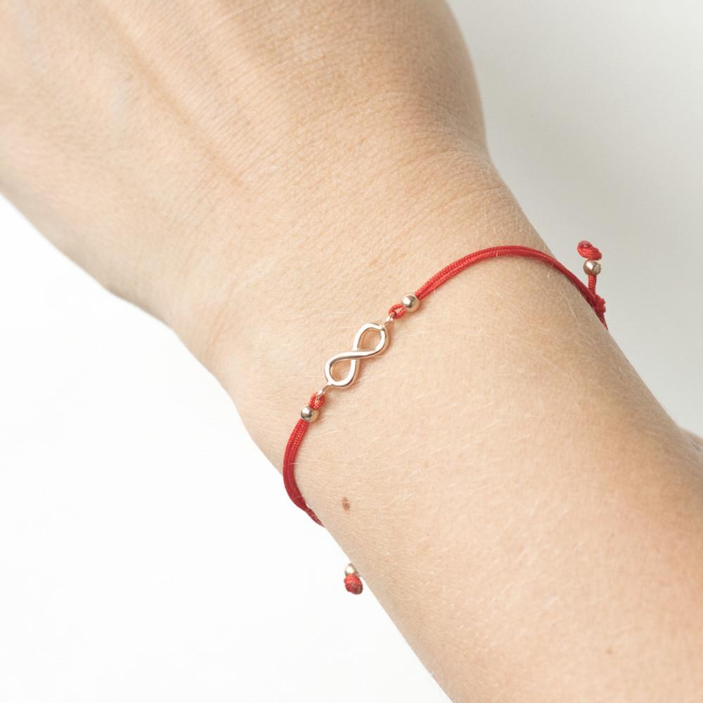 """Браслет з червоною ниткою, знак - """"Нескінченність"""" гб02855"""