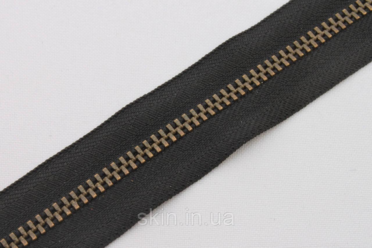 Молния металлическая рулонная YКК , размер № 3, тесьма - черная, цвет зубьев - антик, артикул СК 5259