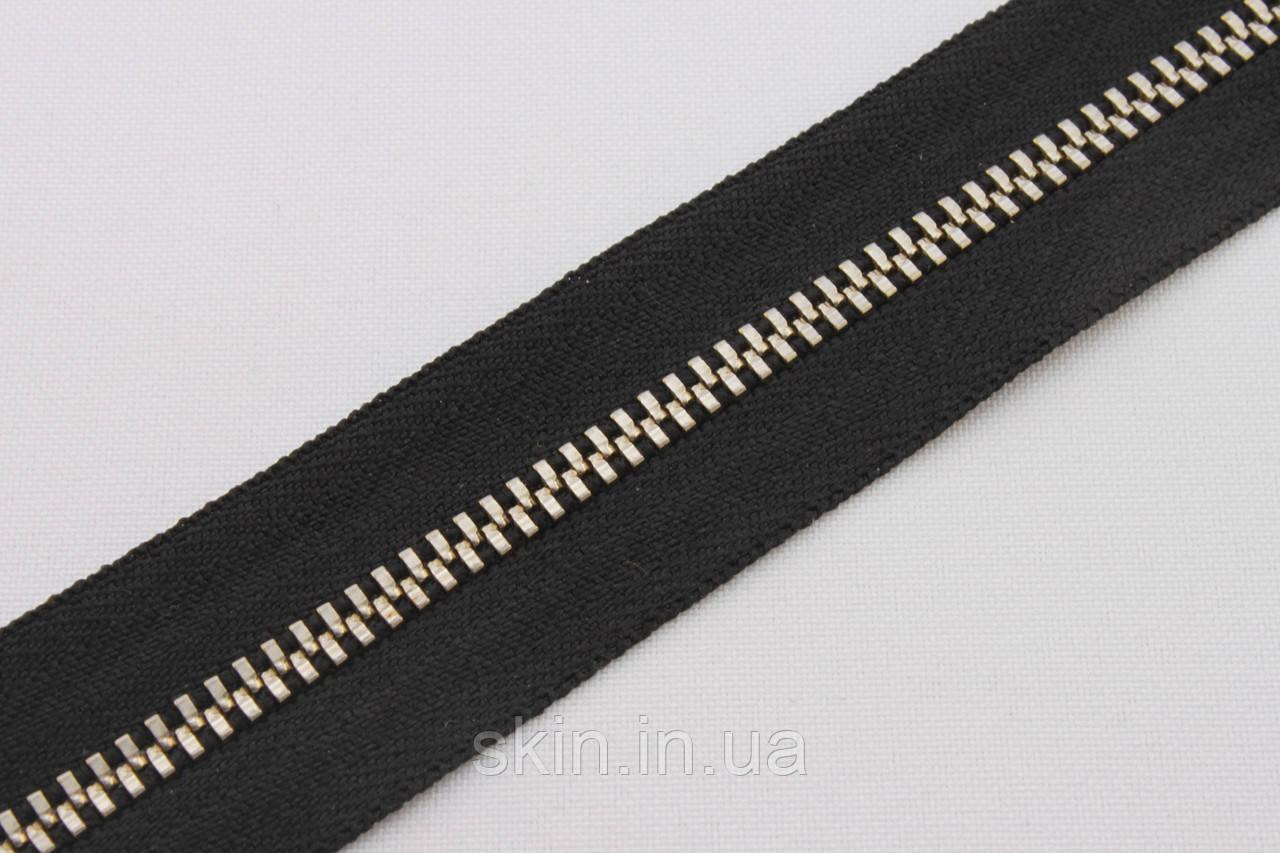 Молния металлическая рулонная YКК , размер № 3, тесьма - черная, цвет зубьев - никель, артикул СК 5258