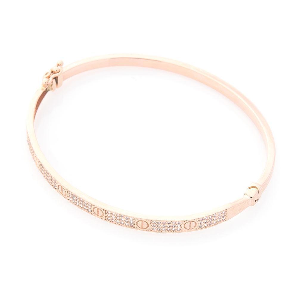 Жесткий золотой браслет (фианиты) гб03678