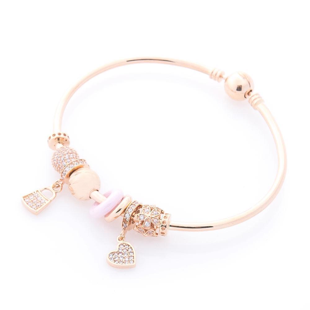 Золотой браслет (фианиты, полимер) гб03383