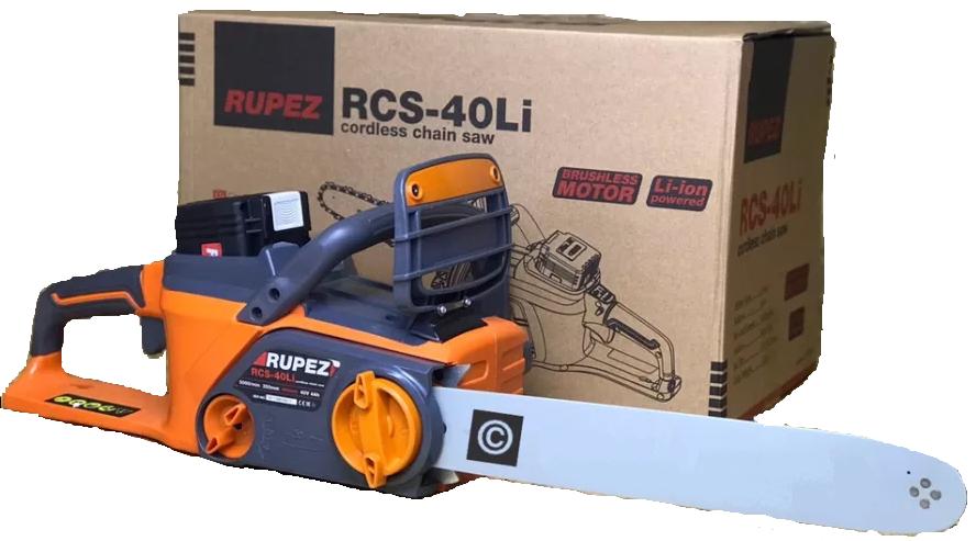 Аккумуляторная цепная пила Rupez RCS-40Li С АКБ и зарядным устройством