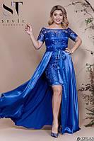 Платье вечернее Атласное двойка с съемной юбкой ультрик Батал