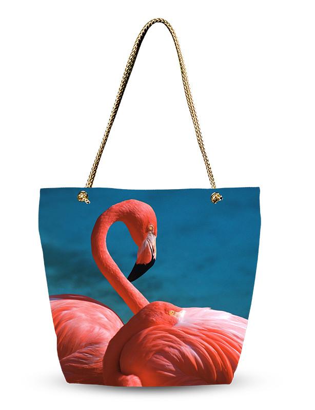 Сумка женская тканевая Фламинго!