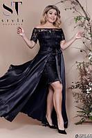 Платье вечернее Атласное двойка с съемной юбкой черное Батал