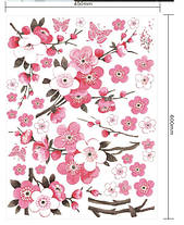 Наклейка на стену, виниловые наклейки декоративное цветущее дерево сакура 120см*50см (лист60*45см), фото 2
