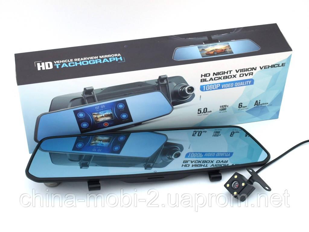 """Car DVR X10 Tachograph 1080p зеркало регистратор, сенсорный экран 5"""", две камеры"""