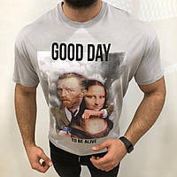 Мужская футболка светло-серая VAN LISA