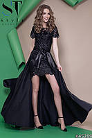 Платье женское вечернее Атласное двойка с съемной юбкой черное