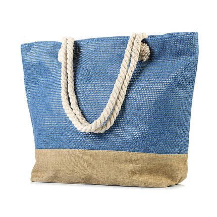 Женская пляжная сумка с канатными ручками синяя (968530898), фото 2