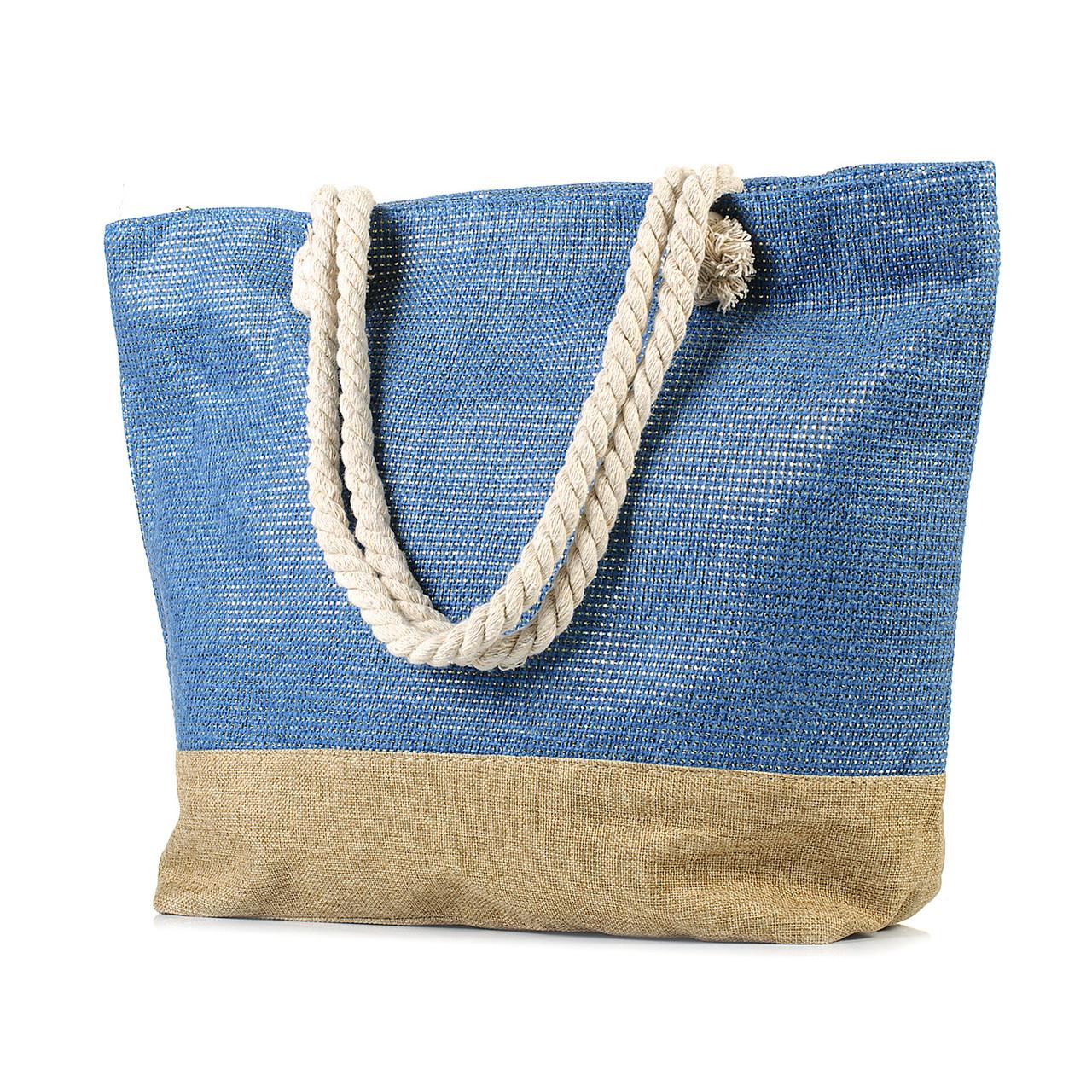Женская пляжная сумка с канатными ручками синяя (968530898)