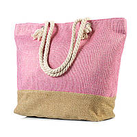 Женская пляжная сумка с канатными ручками розовая (968532207)