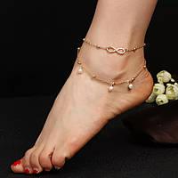 Браслет на ногу с бесконечностью в золотом цвете