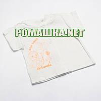 Детская кофточка р. 56 короткий рукав кнопки футболка для новорожденных малышей грудничков КУЛИР 3174 Бежевый А