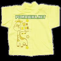 Детская кофточка р. 68 короткий рукав кнопки футболка для новорожденных малышей грудничков КУЛИР 3174 Желтый
