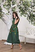 Лляне плаття з вишивкою Клер зеленого кольору