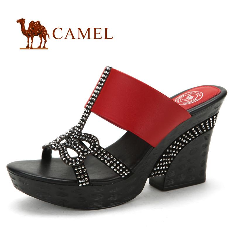 CAMEL кожа стильные женские шлепанцы.
