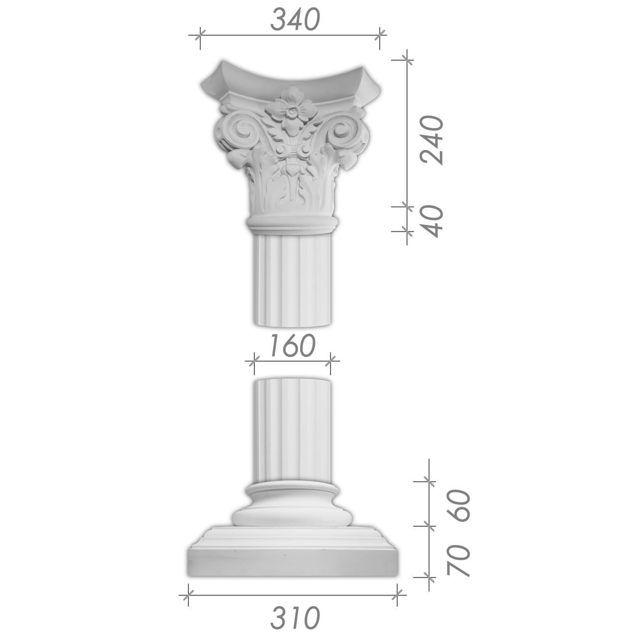 Колона з гіпсу, гіпсова колона ка-8 Ø160 мм (1/2)
