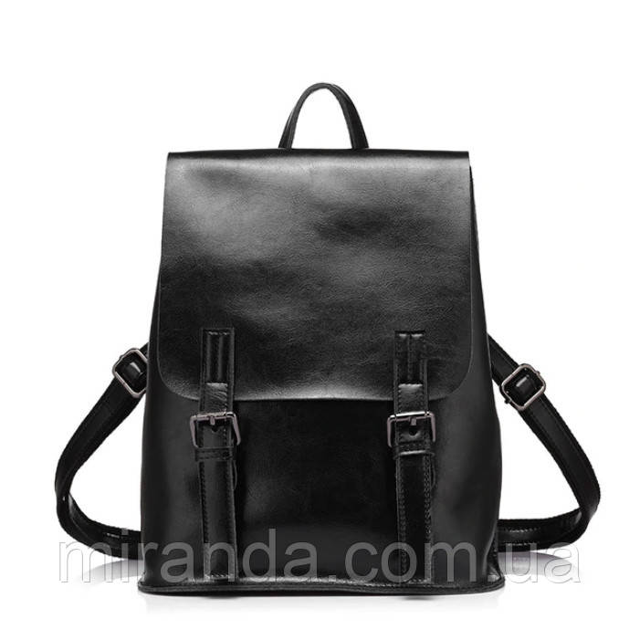 b9e1b5e9289c Рюкзак женский стильный из натуральной кожи с пряжками (черный) - Интернет- магазин «
