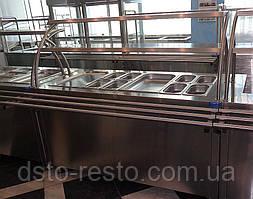 Прилавок холодильный для салатов в линию раздачи 1500/700/1400 мм, две полки