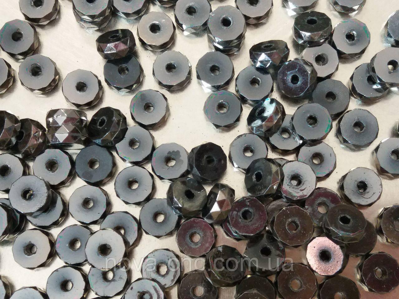 """Бусины  """"мини колесо"""" серый металик 500 грамм"""
