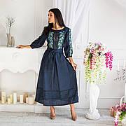 Лляне плаття синього кольору з вишивкою Роксолана