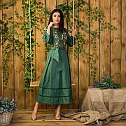 Лляне плаття зеленого кольору з вишивкою Роксолана