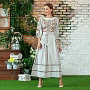 Льняное платье серого цвета с вышивкой Роксолана
