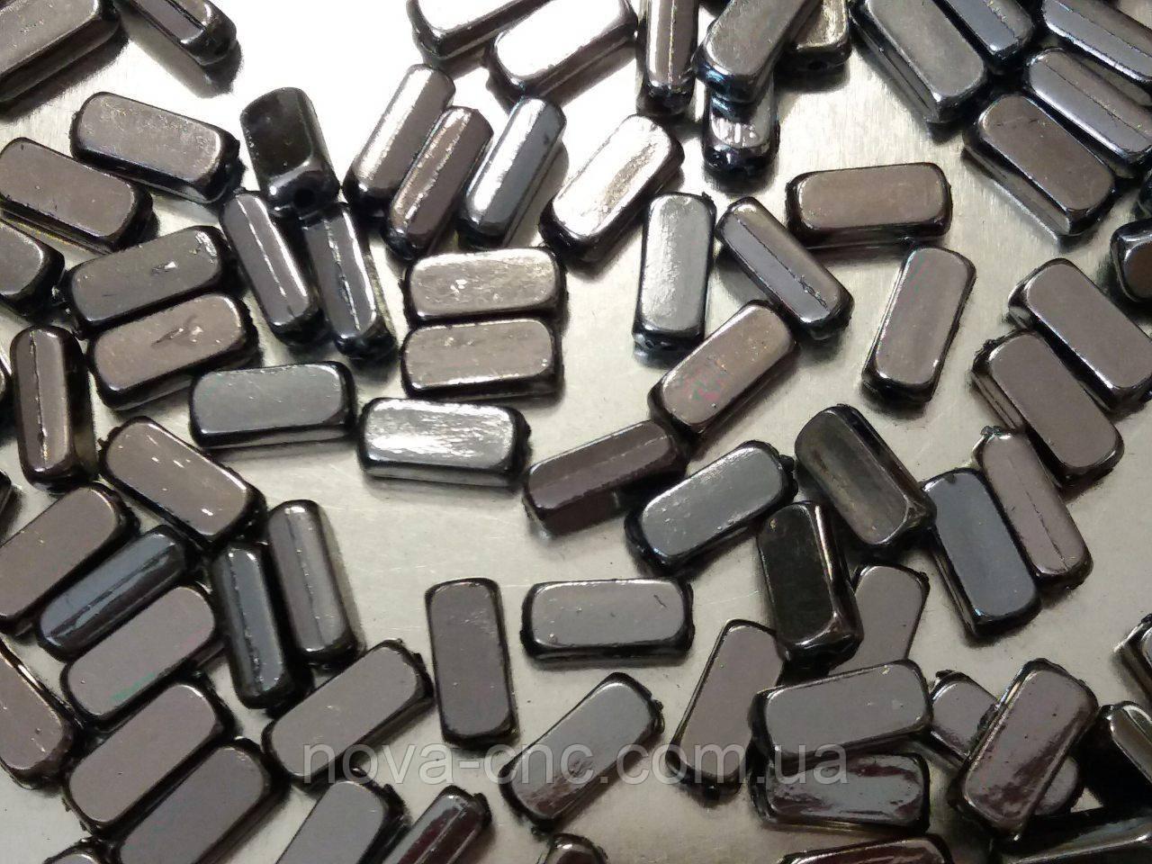 """Бусины  """"кирпичик"""" серый металик 500 грамм"""