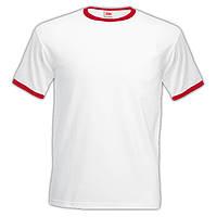 Белая мужская футболка с красной окантовкой