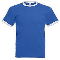 Мужская футболка Fruit of the loom (Ringer T). Синяя с белой окантовкой.