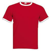 Мужская футболка Fruit of the loom (Ringer T). Красная с белой окантовкой.