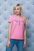 Жіноча однотонна футболка з срекозой (3 кольори)