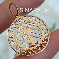 Золотой крестик-подвеска - Нежный золотой крестик в круге, фото 2