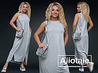 Удобное длинное летнее платье с карманами больших размеров 50 - 56