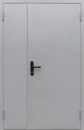 Противопожарные полуторные входные двери EI-30 серые (RAL 7035) в коридор и тамбур, фото 2