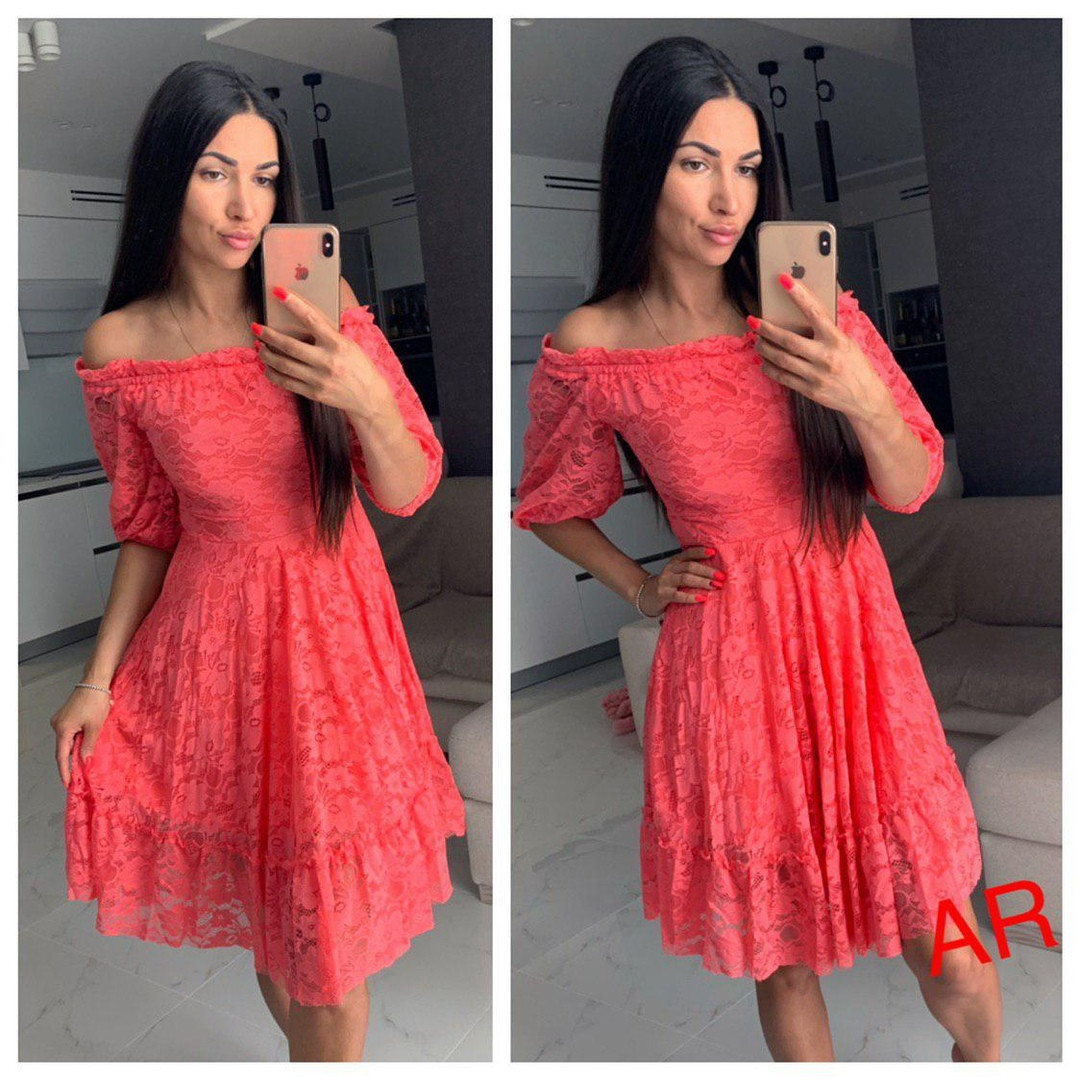 Сукня люкс якість, тканина: гепюр. Розмір: С,М,Л. Різні кольори (6501)