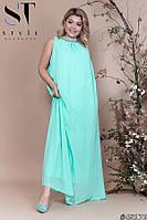 Платье женское вечернее шифоновое Клеопатра мятное Батал
