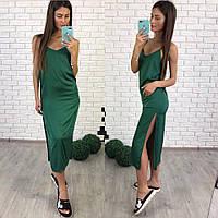 26656728e09 Женское длинное платье из атласа зеленого цвета