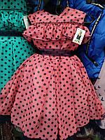 Пышное  шифоновое  платье на девочку в горошек с рюшей , фото 1