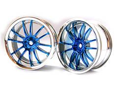 Blue Chrome Spoke Wheel Rims 2P
