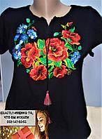 Вышиванка блузка короткий рукав  мак волошка S, M, L, XL, 2XL,3XL