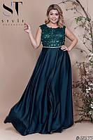 Платье женское вечернее атласное Нимфа изумрудное Батал
