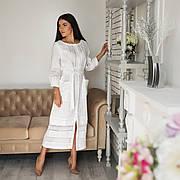 Платье с кружевом из льна белого цвета